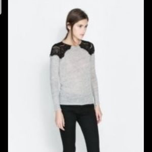 Zara lace shoulder long sleeve t-shirt